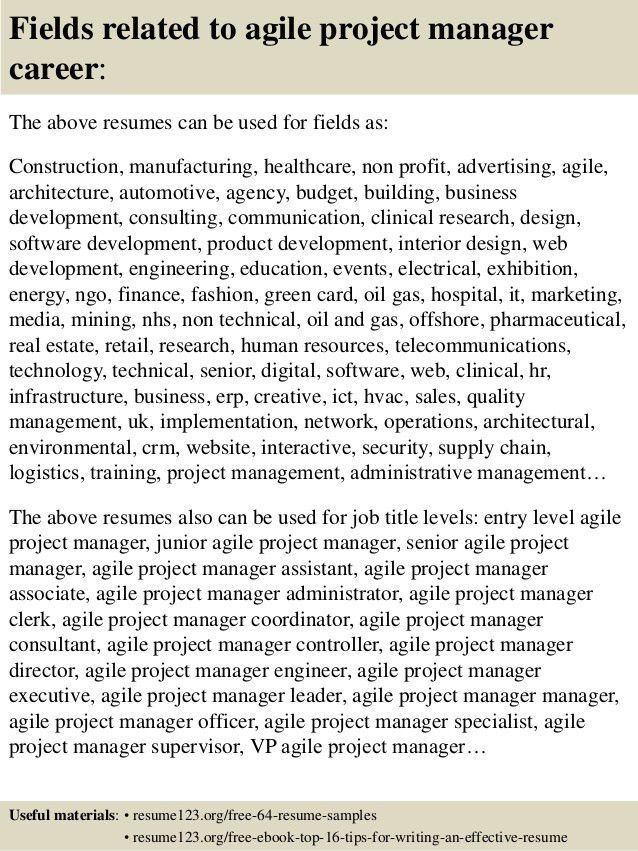 Top 8 agile project manager resume samples