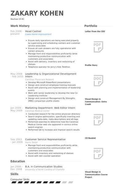 Head Cashier Resume samples - VisualCV resume samples database