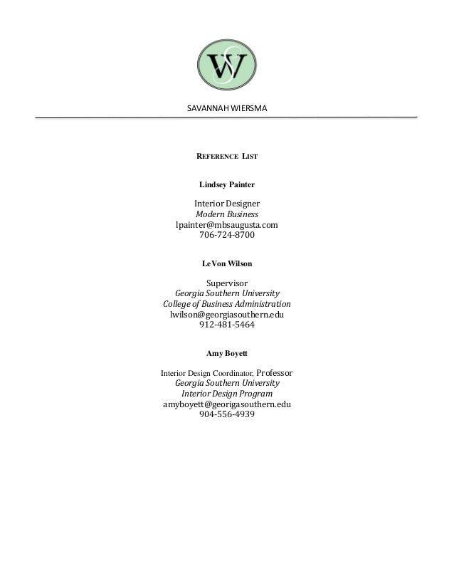 Savannah Wiersma Resume, References