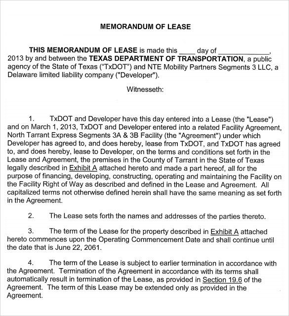 Memorandum Of Lease Agreement Samples , Examples & Format - 7+ ...