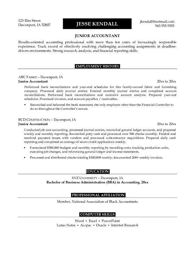 Example Junior Accountant Resume - Free Sample