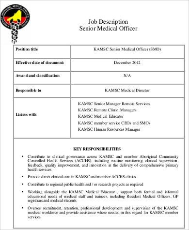 Medical Officer Job Description. Resident Medical Officer Job ...