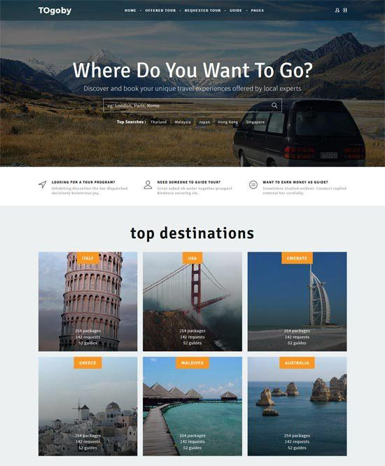 70+ Best Travel Website Templates Free & Premium - freshDesignweb
