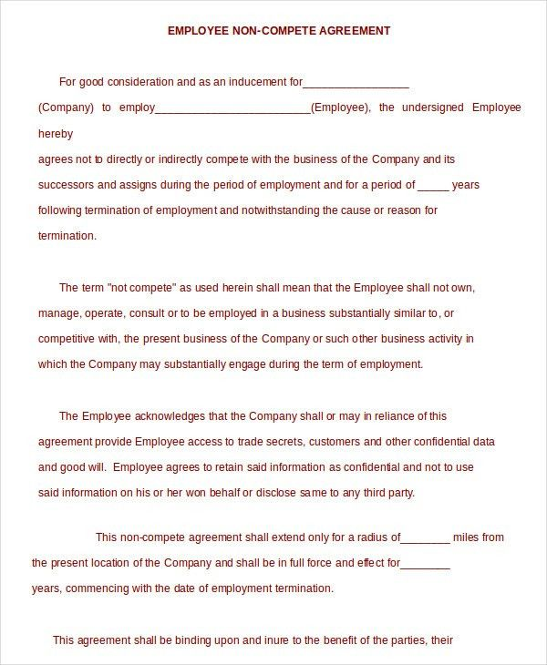 Non Compete Agreement Template   9+ Free Sample Example, Format .