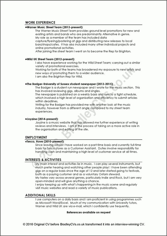 Examples of good and bad CVs / resumes by Bradley CVs UK