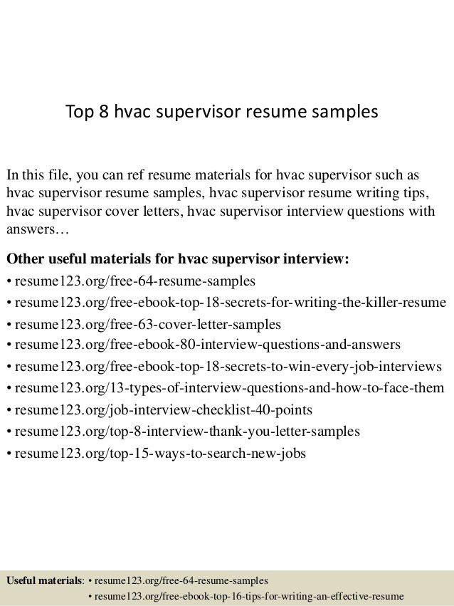 Top 8 Hvac Supervisor Resume Samples 1 638.