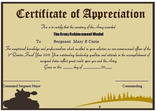 Army certificate of appreciation army certificate of 20 professional army certificate of appreciation templates yadclub Gallery