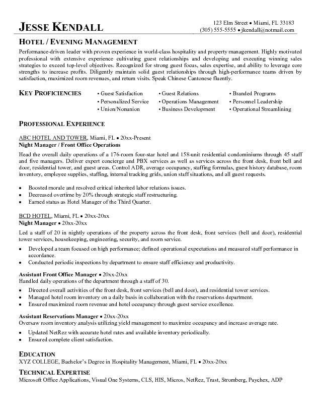 Free Hotel Night Manager Resume Example