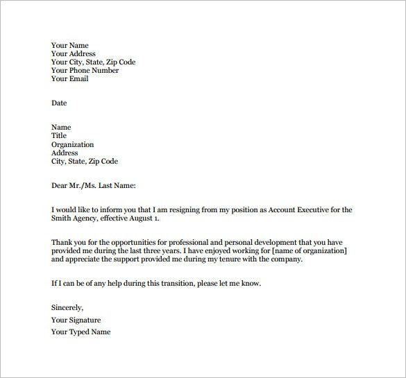 Job Resignation Letter Template – 10+ Free Word, Excel, PDF Format ...