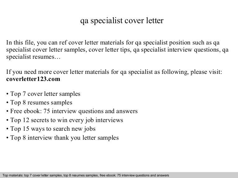 Web Analytics Specialist Cover Letter Sample Qa Specialist Resume