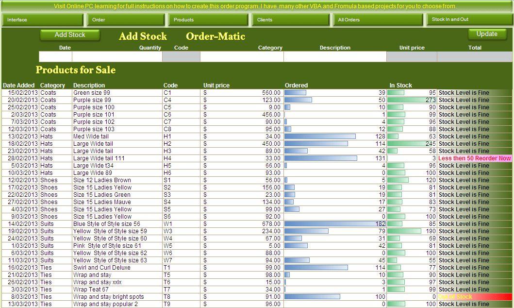 Excel VBA - Order and Inventory Management - Excel 2013 - Online ...