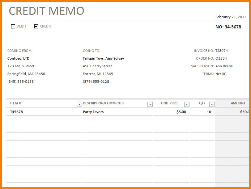 5 credit memo template | Receipt Templates