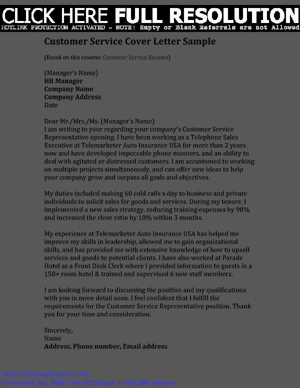 Cover Letter Template For Customer Service Officer - Shishita ...