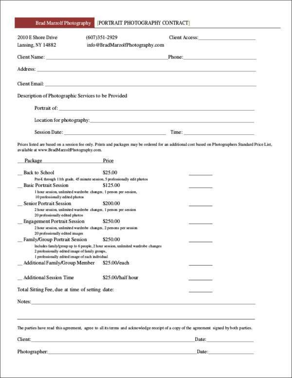 Portrait Photography Contract Template. wedding contract ...