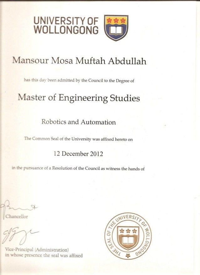 degree Certificate of Graduation