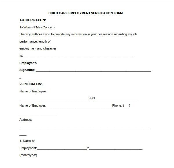 Verification Form. Employment Verification Release Form Template ...