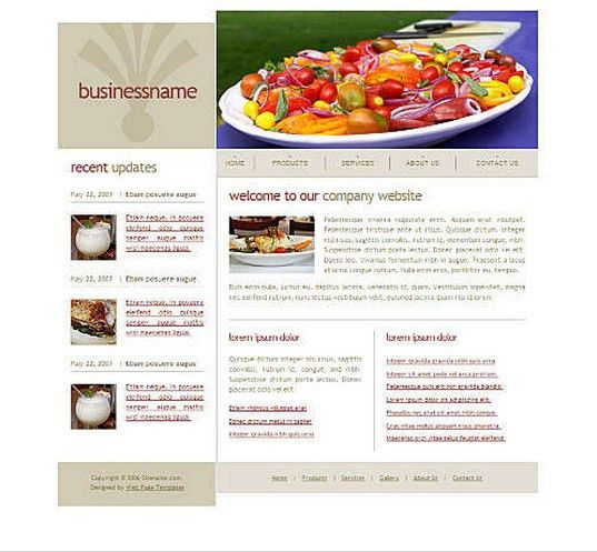 Dreamweaver CSS Cooking Templates
