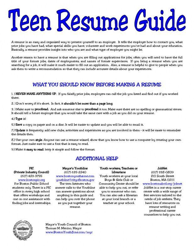 Download Resume Template For Teens   haadyaooverbayresort.com