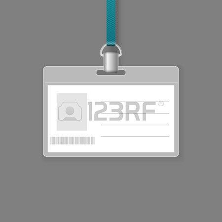 Blank ID Badge Vector Template Isolated On Grey Background Royalty ...