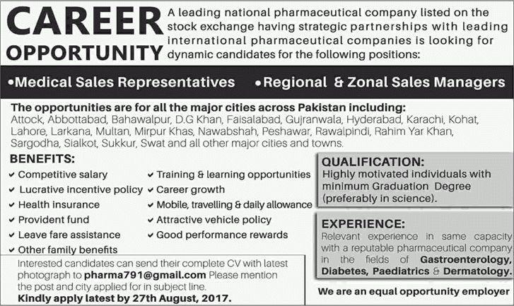 Pharmaceutical Jobs in Pakistan August 2017 Medical Sales ...