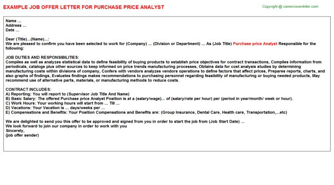 Purchase Price Analyst Offer Letter