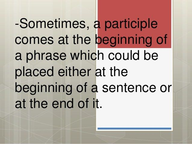 Eng9 placing participial phrases correctly