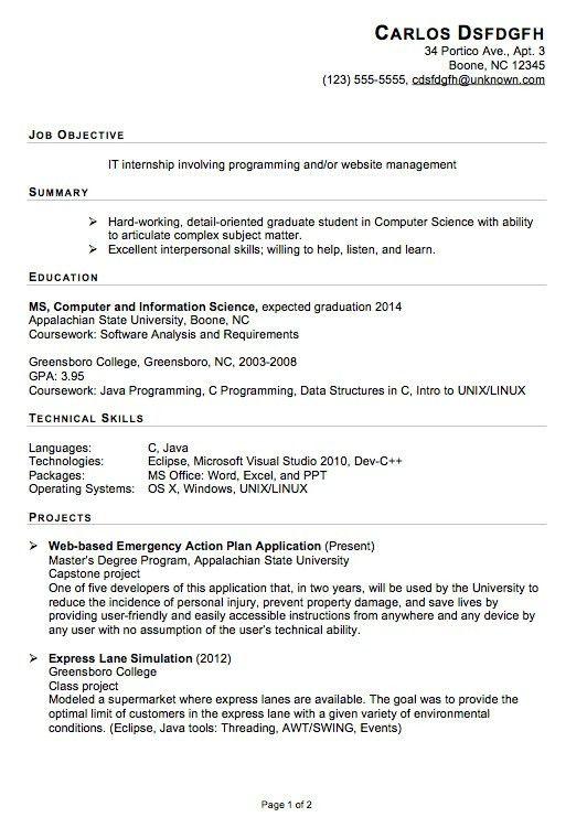 Resume For Internship Example. Interior Design Internships Resume ...