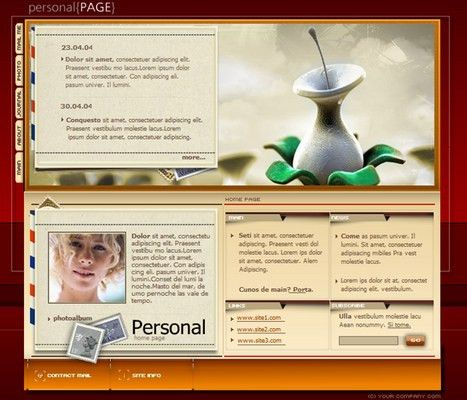 Female Personal Profile Webpage Flash Audio Website Template - Down...