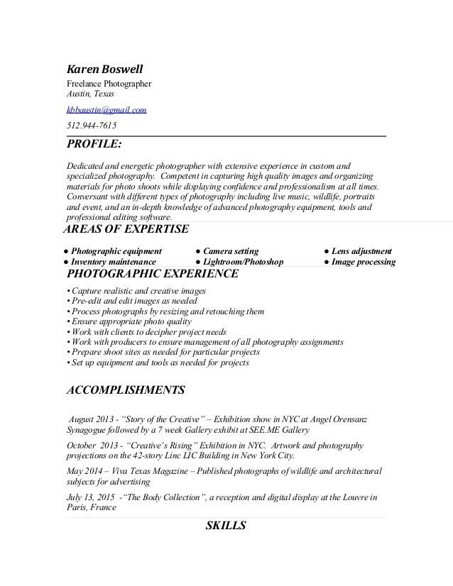 an interesting photography resume. professional photographer ...