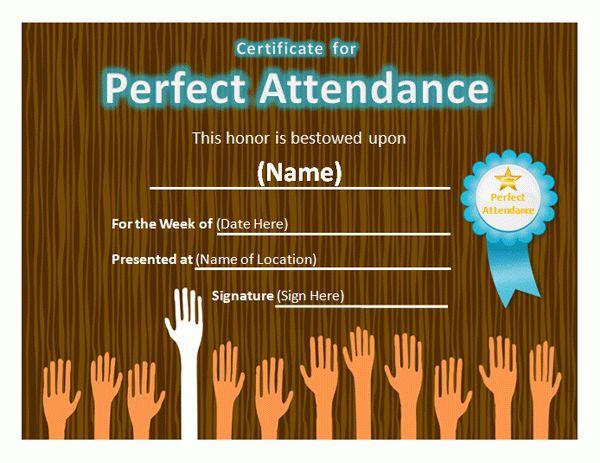 Perfect Attendance Award Certificate