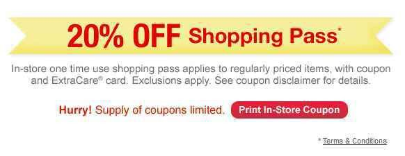 Printable CVS Coupon | 20% off Shopping Pass (Today Only)