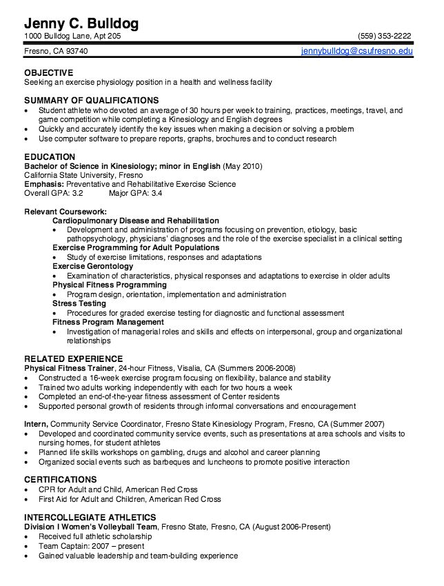 Kinesiology Graduate Resume Samples - http://exampleresumecv.org ...