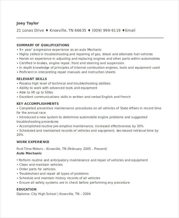 Mechanic Resume Examples. Hvac And Refrigeration Resume Sample ...