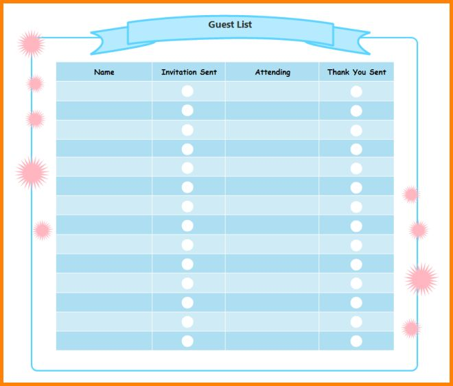6+ party guest list template | memo templates