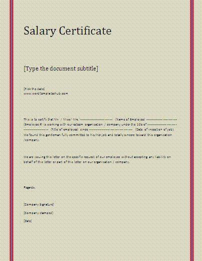 Salary Certificate Template | Formsword: Word Templates & Sample Forms