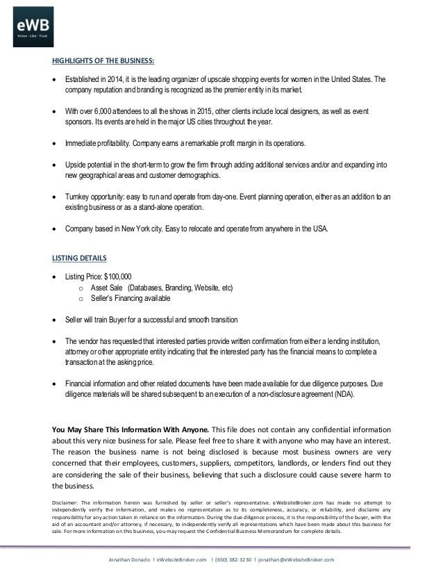 Listing Summary Template Business Brokerage