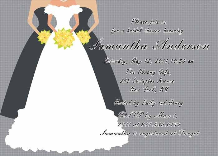 Printable grey bridal shower invitation cards EWBS019 as low as ...