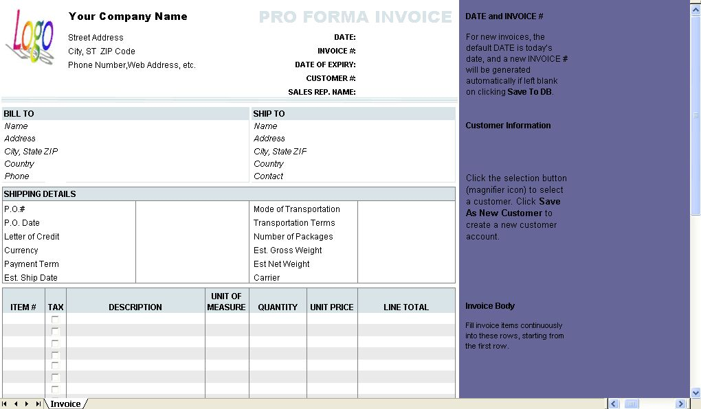 Free Proforma Invoice Template - Download