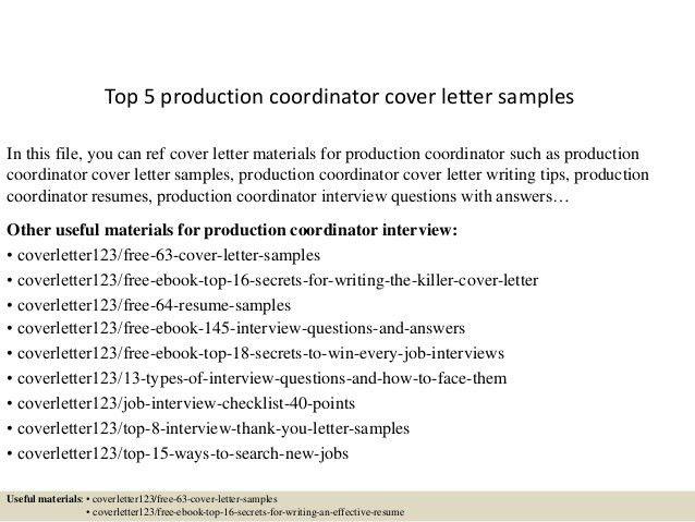 production coordinator resumes