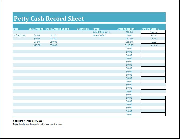 Petty Cash Record Sheet Template | Word Document Templates