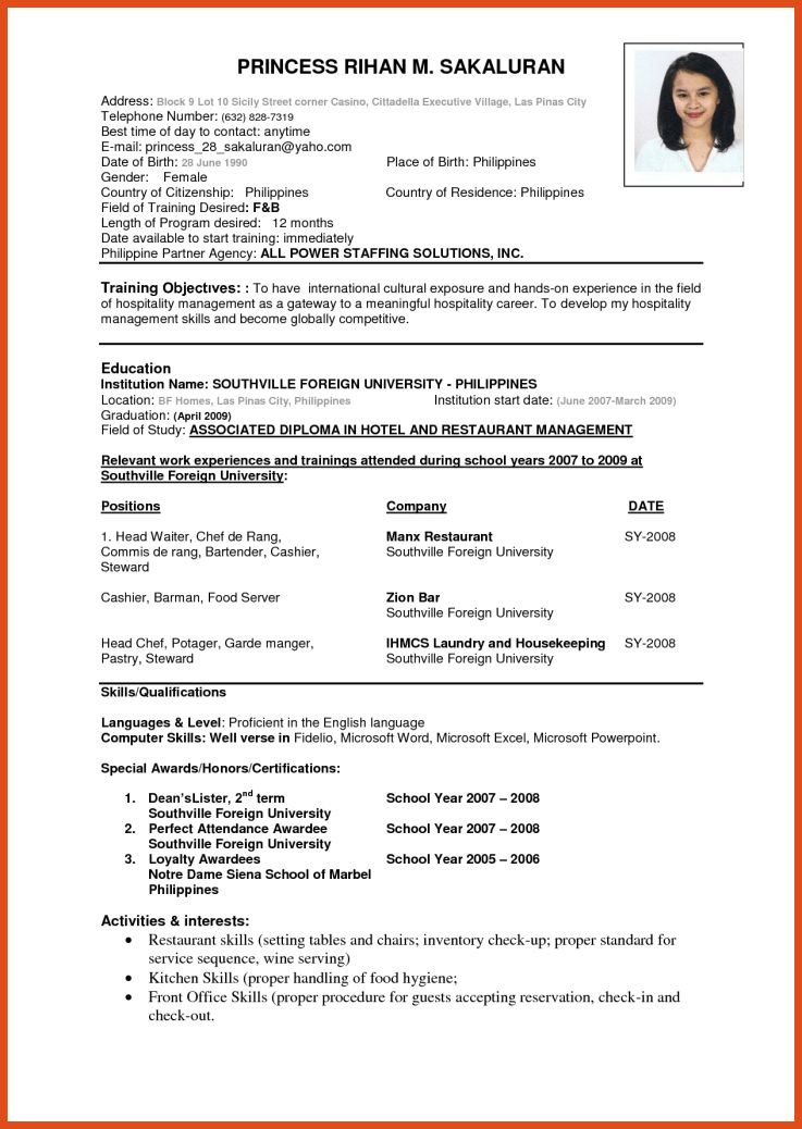 we found 70 images in abroad resume format sample gallery. vita ...