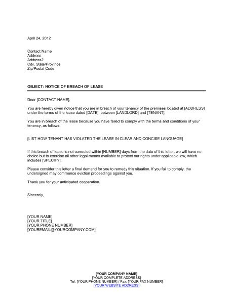 Landlord Notice of Termination of Lease - Template & Sample Form ...