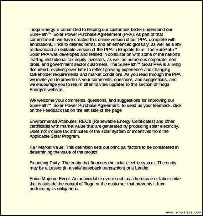 Power Purchase Agreement Letter Template | TemplateZet