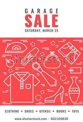 Garage Sale Flyer Template Vector Line Stock Vector 602169842 ...