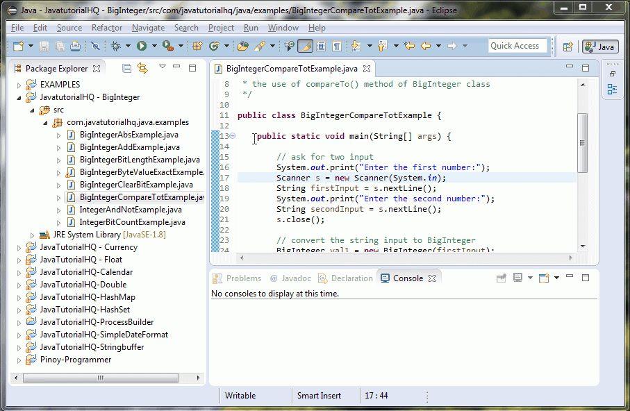 Java BigInteger compareTo() method example
