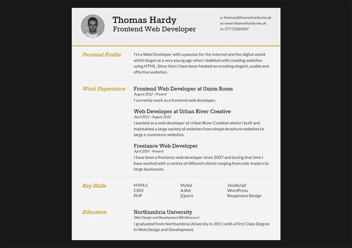 52 Modern Free & Premium CV Resume Templates