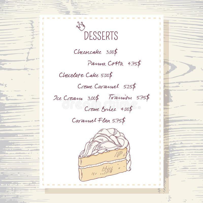 Dessert Menu Template With Sweet Vanilla Cake Stock Vector - Image ...