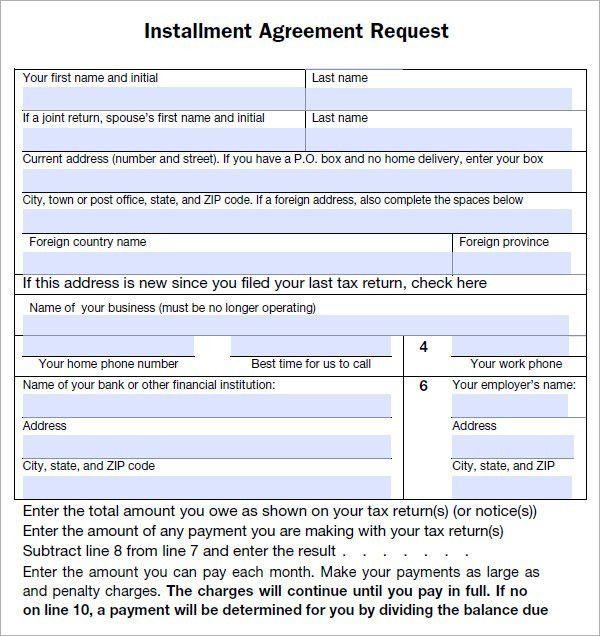Installment Payment Agreement Template | Template Design