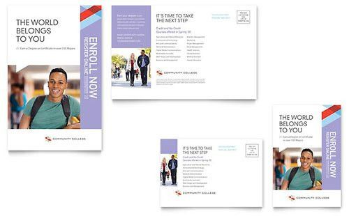 Community College Postcard Template Design