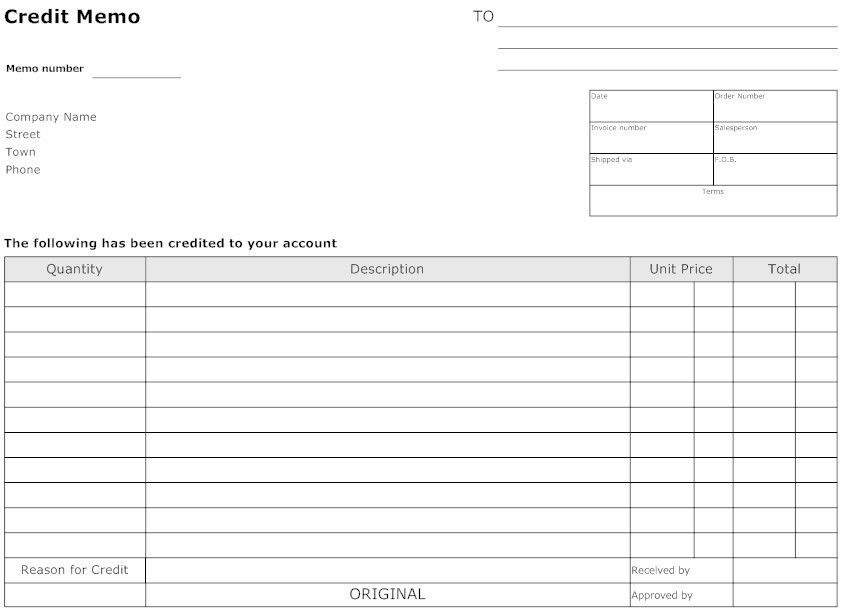 7 Best Images of Credit Memo Form Template - Credit Memo Template ...